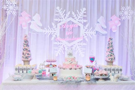 winter onederland birthday decorations pastel winter onederland themed birthday via karas