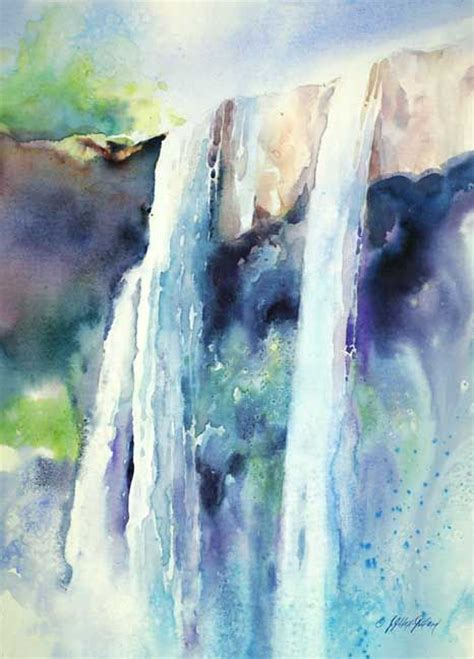 Watercolor Waterfall Tutorial | waterfall tutorial julie gilbert pollard art t 238 ps and