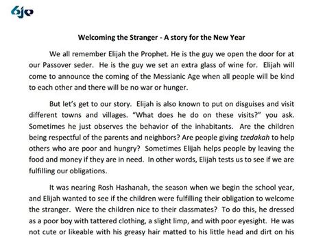new year story summary welcoming the hachnasat orchim and elijah