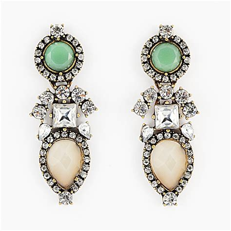 Crystal Chandelier On Sale Aztec Mint Drops Mint Green Crystal Statement Earrings