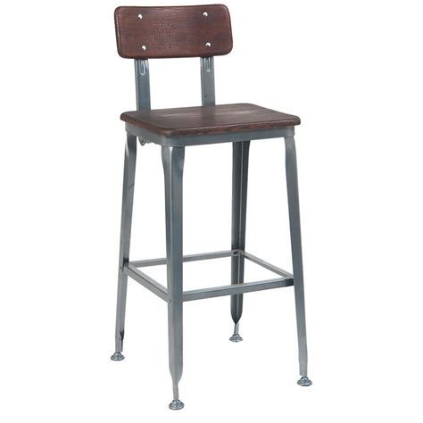 Metal Bar Stool With Back Grey Metal Bar Stool With Walnut Finish Wood Back Seat