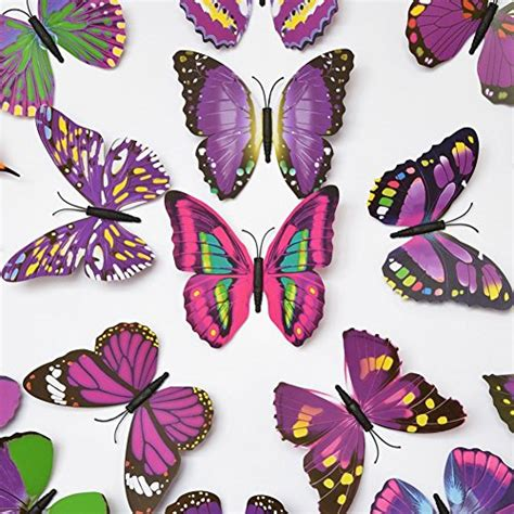 12 pcs 3d butterfly blue elecmotive 12 purple 12 blue 3d butterfly stickers home