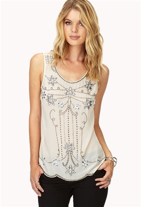 beaded top lyst forever 21 contemporary deco beaded top in