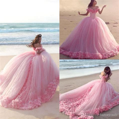 30618 Pink Sweet Offshoulder Dress 2017 new baby pink sweet 16 princess quinceanera dresses shoulder flowers backless gown