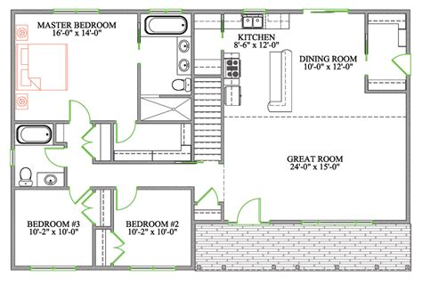 bungalow floor plans with basement open house plans with bat