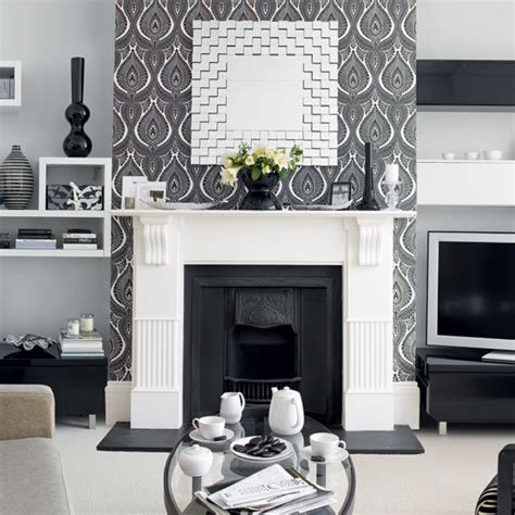 modern grey living room design beige damask pattern fabric ottoman living room wallpaper ideal home