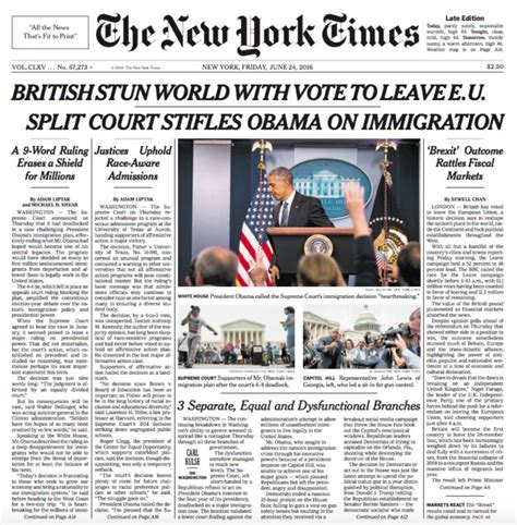 new york times front page newspaper brexit uk and world front pages