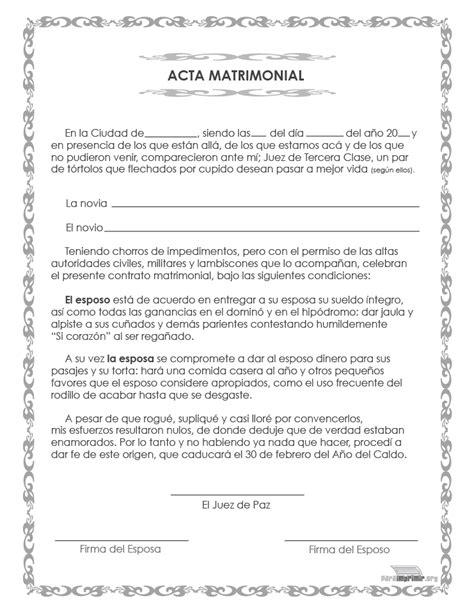 certificado de matrimonio para kermes acta de matrimonio de broma para imprimir