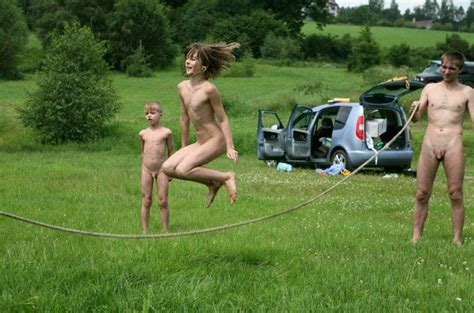 Family Nudism Photo On Lake Purenudism Series Leisure Game Outdoor