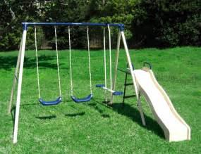 Metal Swing Sets Swing N Glide Iii Metal Swing Set