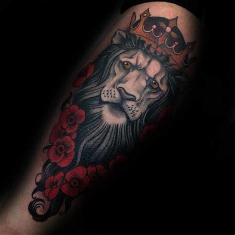lion blumen 50 lion with crown tattoo designs for men royal ink ideas