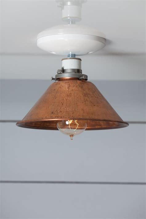 copper metal shade light semi flush mount l