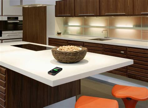 Dupon Corian wirelessly charge your device on dupont corian tabletops