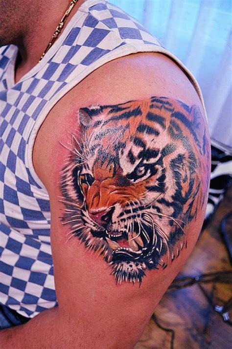 tiger tattoo photo gallery realistic tiger head on shoulder tattoo tattooimages biz