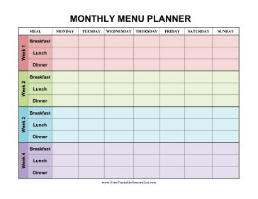printable monthly menu planner color