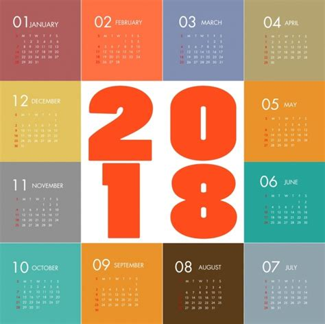 Calendar 2018 Illustrator 2018 Calendar Template Modern Colorful Flat Design Free