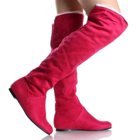 pink suede faux shearling designer womens flat thigh