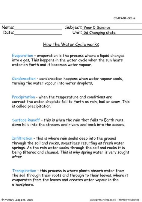 The Water Cycle Worksheet Answers by The Gallery For Gt Water Cycle Worksheet Answers