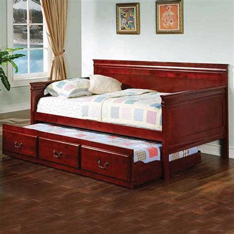 bedroom sets including mattress coaster wood daybed with trundle in cherry finish 300036ch