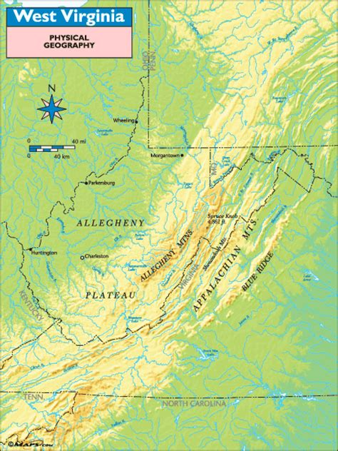 physical map of virginia west virginia physical geography map by maps from maps