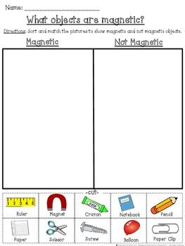 cut and paste magnet worksheet magnetic and not magnetic cut and paste sorting activity tpt
