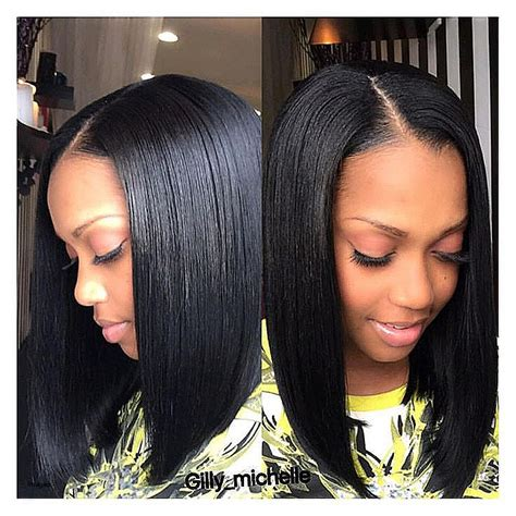 the 25 best middle part hairstyles ideas on pinterest bob hairstyle short bob weave hairstyles for black women