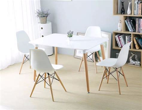 4 Chair Dining Table Price Minimalist Modern Design Dining Furniture Set 1 Table 4 Chairs Plastic Chair Wooden Table Dining