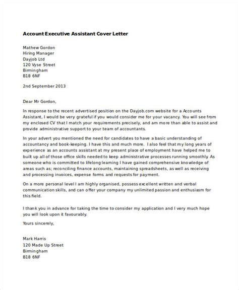 cover letter accounts assistant executive assistant cover letters 9 free word pdf