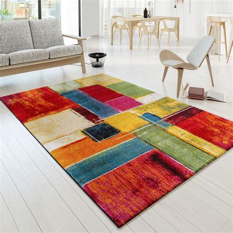 moderne teppiche designer teppich bunt karo design multicolour rot gr 252 n
