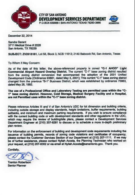 zoning verification letter san antonio covering up preferential treatment for planned