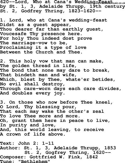 Wedding At Cana Lyrics by Lutheran Hymns Song 620 Lord Who At Cana S Wedding