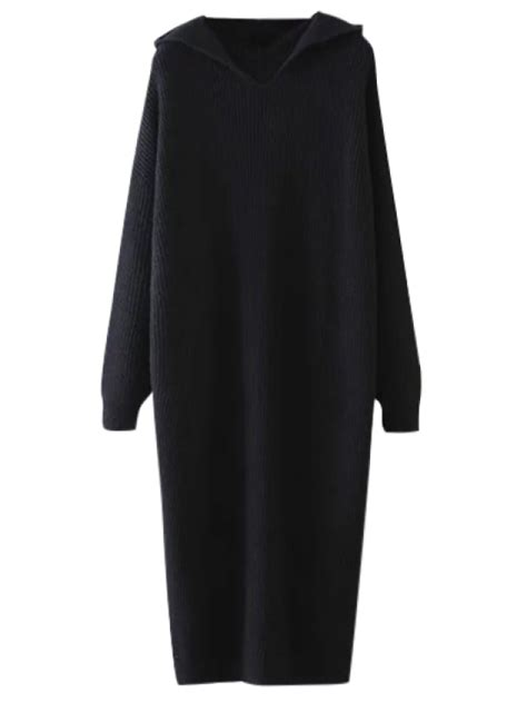 Midi Jumper Dress hooded midi jumper dress black sweater dresses one size