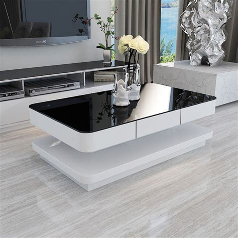 MODERN WHITE HIGH GLOSS COFFEE TABLE WITH BLACK TEMPERED GLASS TOP LIVING ROOM   eBay