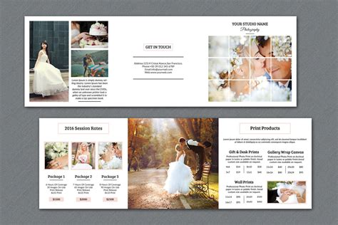 Wedding Photography Brochure Design by Wedding Photography Brochure 5x5 In Square Trifold Pricing