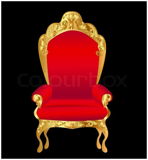 Old chair red with gold ornament on black   Stock Vector