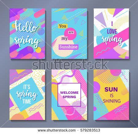 event design memphis hello spring posters set in trendy 80s 90s memphis style