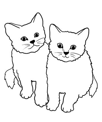 two cats coloring pages cat coloring pages