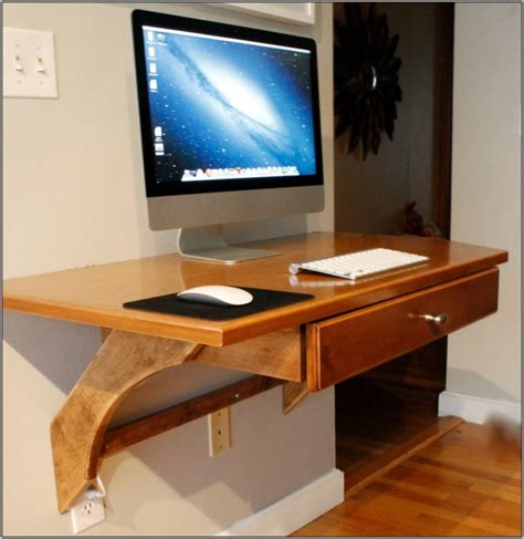 Furniture Floating Brown Polished Wooden Narrow Computer Floating Computer Desk Ikea