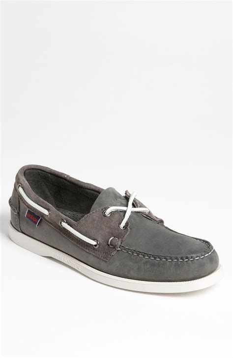 gray boat shoes sebago spinnaker boat shoe men in gray for men grey lyst