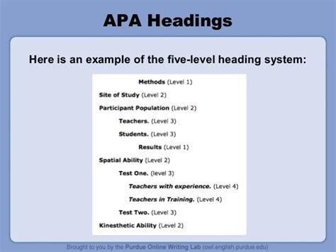 apa format with headings purdue owl apa style guide