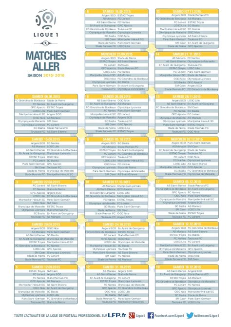 Calendrier Bordeaux Foot Ligue 1 Calendrier Saison 2015 2016