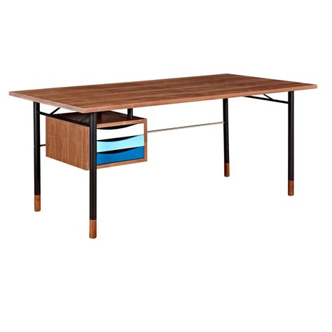 soren walnut wood writing desk with storage in blue