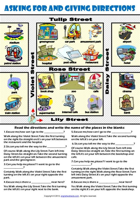get printable directions giving directions worksheet images