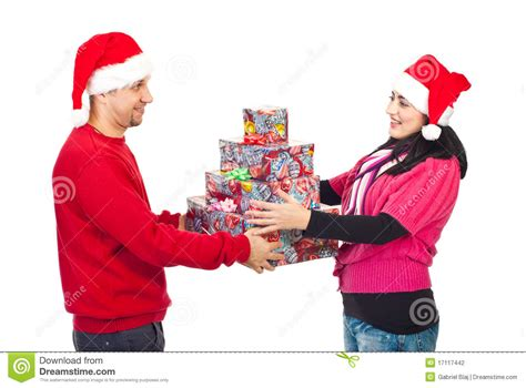 couple sharing christmas gifts stock photography image