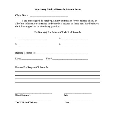 19 Sle Medical Records Release Forms Sle Forms Veterinary Release Form Template