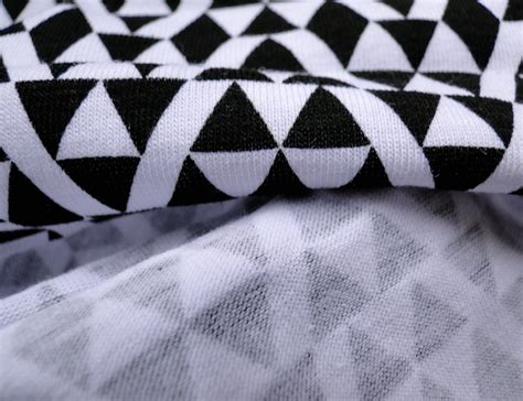 black and white knit fabric geometric cotton knit fabric black white jersey fabric