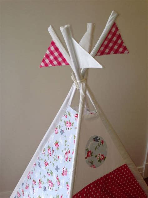 Handmade Teepee - handmade fabric teepee childs play tent by nestnfeather