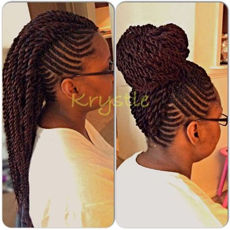 Braided Mohawk With Senegalese Twist | twist mohawk twist senegalese braids long bun i