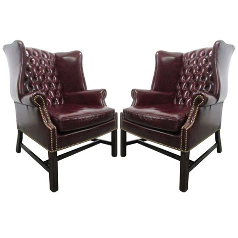 pair of leather wingback chairs pair of vintage leather tufted wingback chairs for sale at