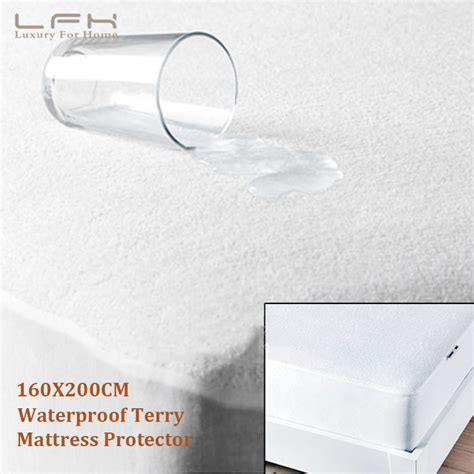 Waterproof Bed Bug Proof Mattress Cover by 160x200cm Premium Fitted Cotton Terry Cover 100